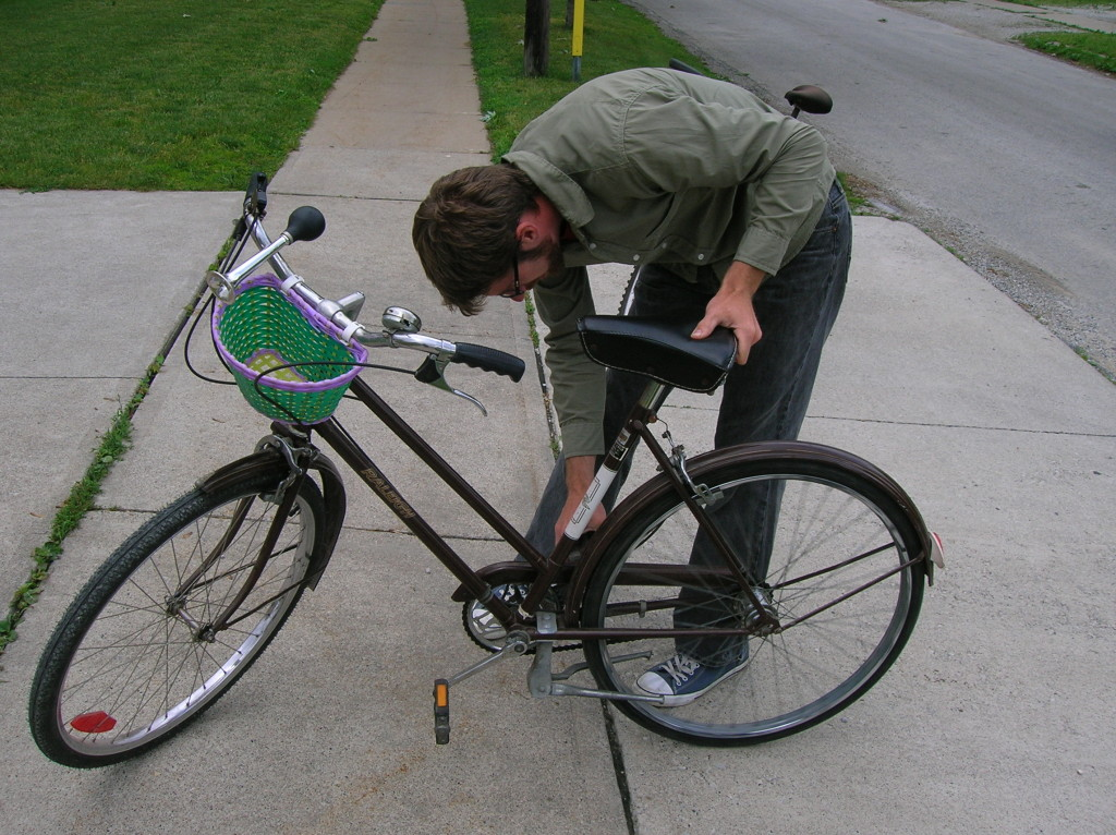 husband fix bike