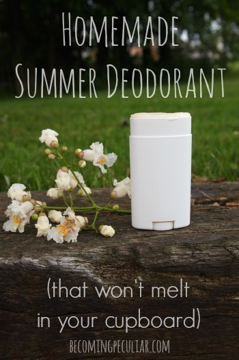 Homemade Summer Deodorant (made with coconut oil, but it won't melt in your cupboard)
