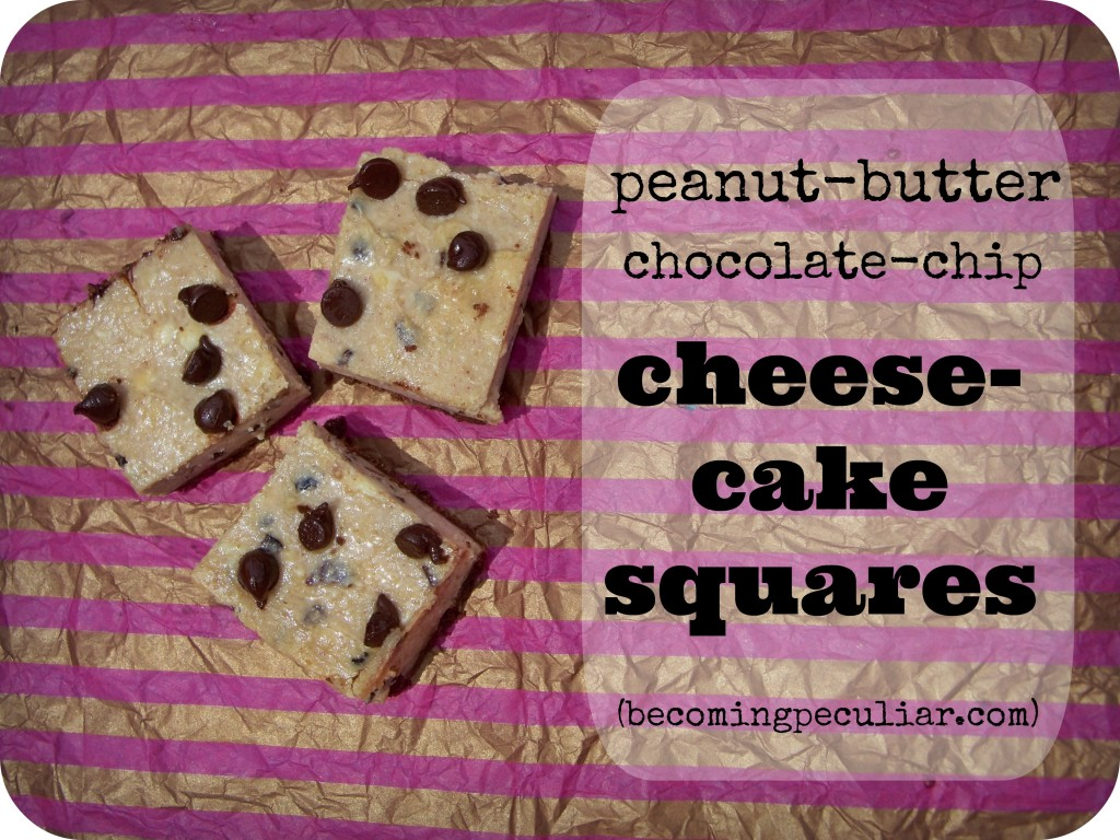 peanut-butter chocolate-chip cheesecake squares. A simple, not-too-sweet treat!