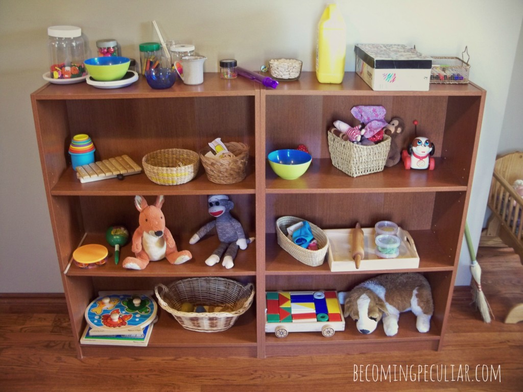 Montessori-inspired toy shelf