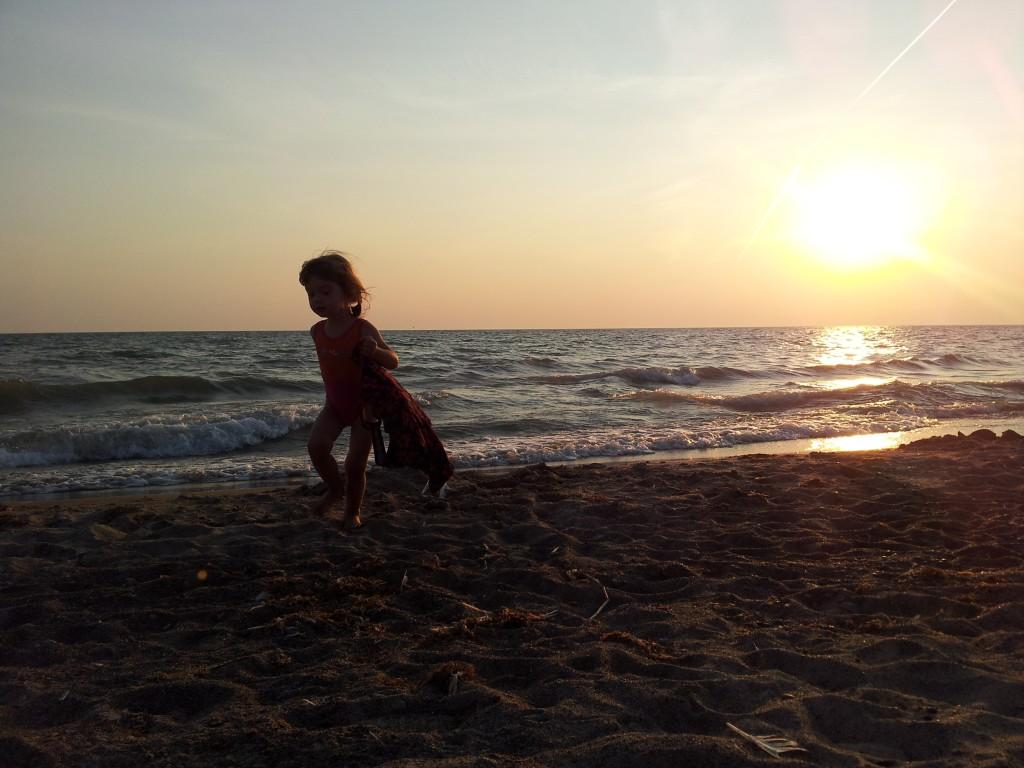 walking sunset