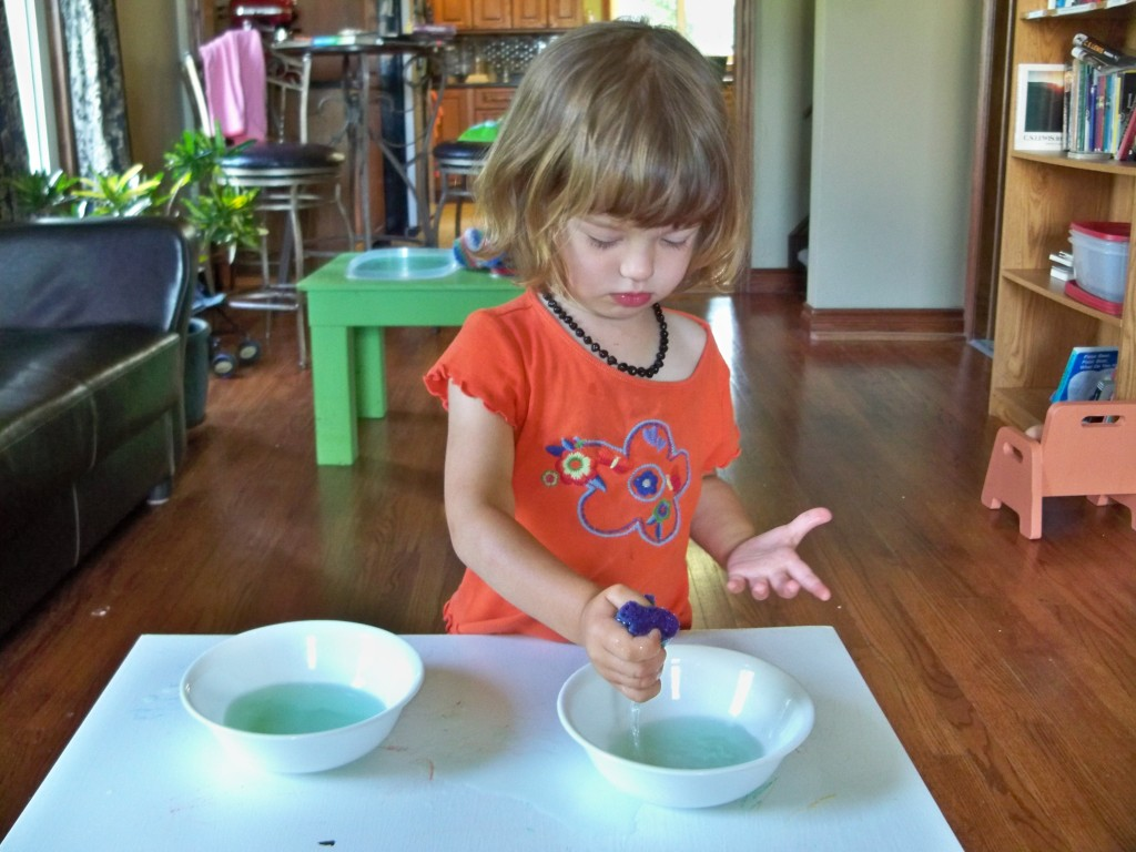 transferring water with a sponge - montessori activites for a toddler