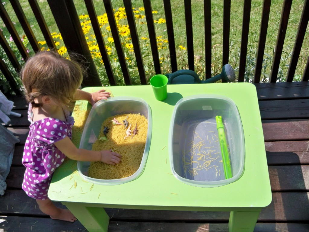 noodles in sensory table