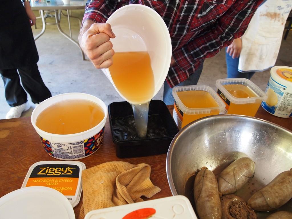 pouring lard
