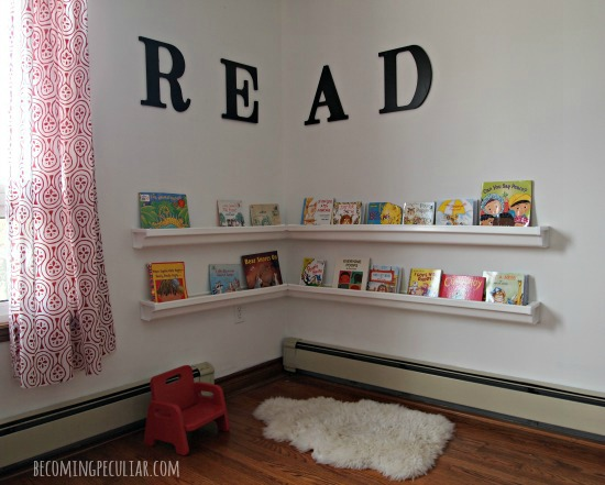 Reading Corner / Book Nook with rain gutter shelves