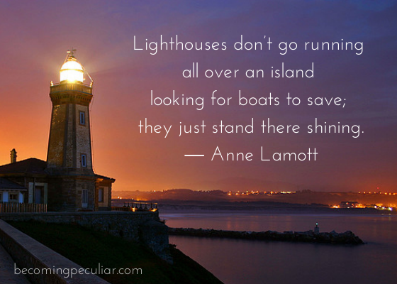 """Lighthouses don't go running all over an island looking for boats to save."""