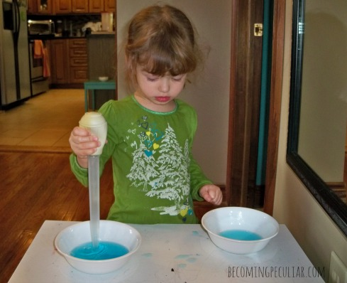 Transferring with a baster: Montessori activities for a two-year-old