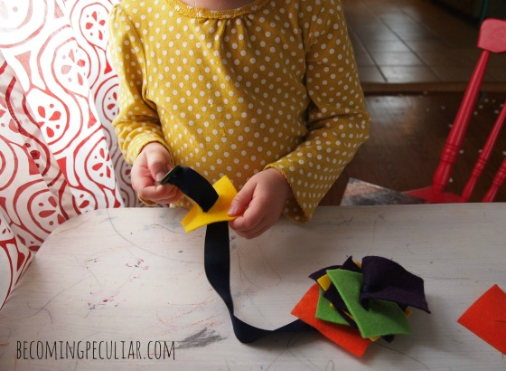 Button Snake: 14  Montessori activities for a two-year-old