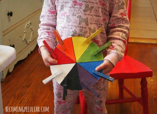 Clothespin colour wheel matching game