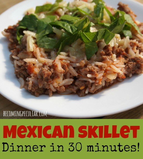 Mexican Skillet and Rice: super-quick dinner in less than 30 minutes!