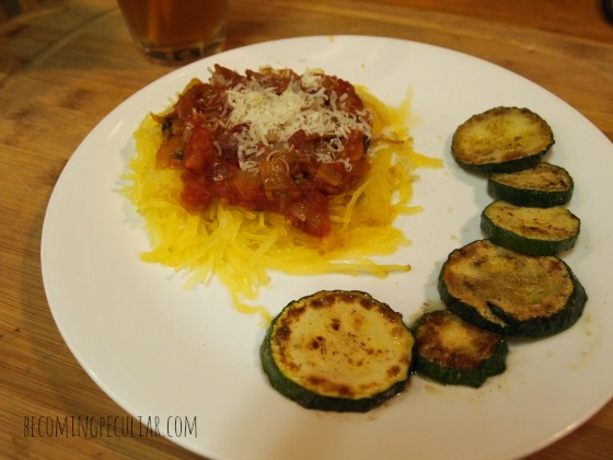 Autumn dinner: BLT spaghetti squash and fried zucchini