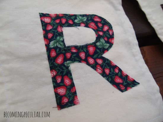 appliqued letters - fabric happy birthday banner tutorial