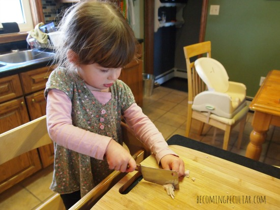 Tiny cleaver - Perfect knife for a toddler. Montessori gift for a two-year-old