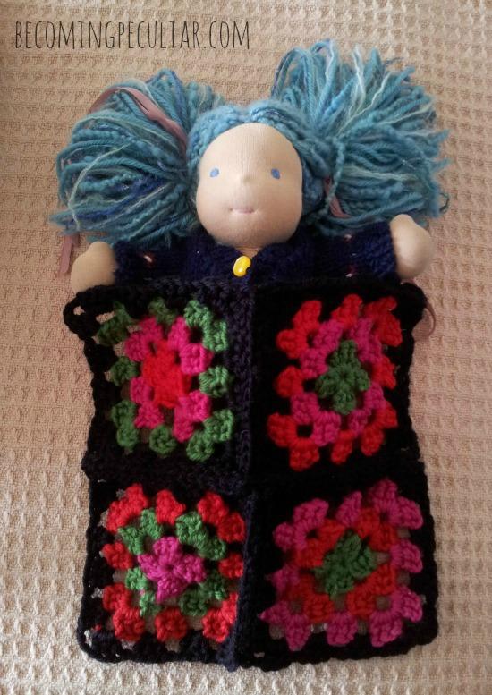 granny square blanket for doll