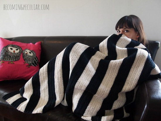 DIY black and white striped crocheted blanket