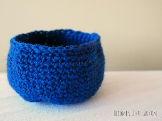 crocheted bowl - before felting