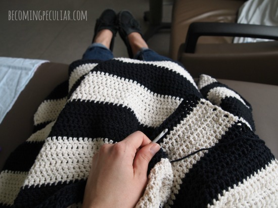 Beginners Striped Cotton Crochet Throw Blanket