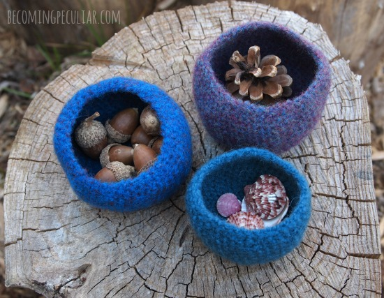DIY felted treasure bowls - three different sizes