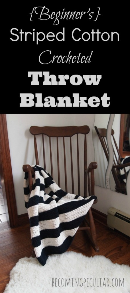 Beginner's 's striped black and white cotton crocheted throw blanket