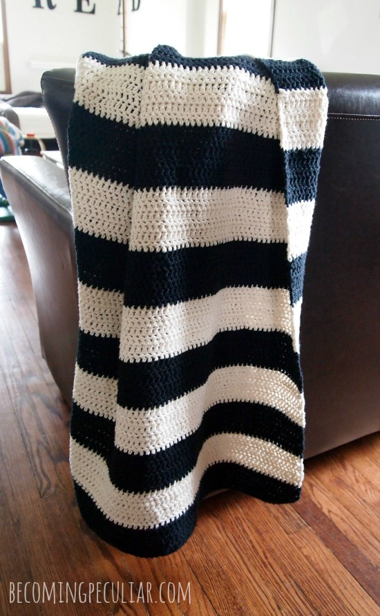 Beginner s Striped Cotton Crochet Throw Blanket