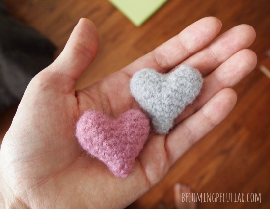 felted crocheted hearts