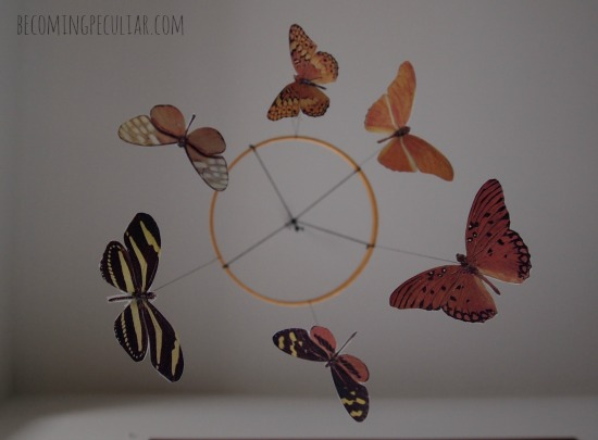 Montessori-inspired DIY butterfly mobile