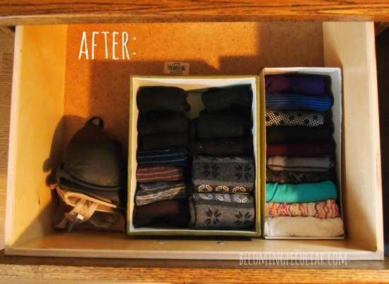 Konmari method: underwear drawer after