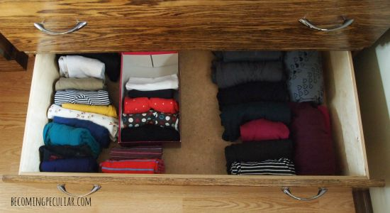konmari folding - shirt drawer