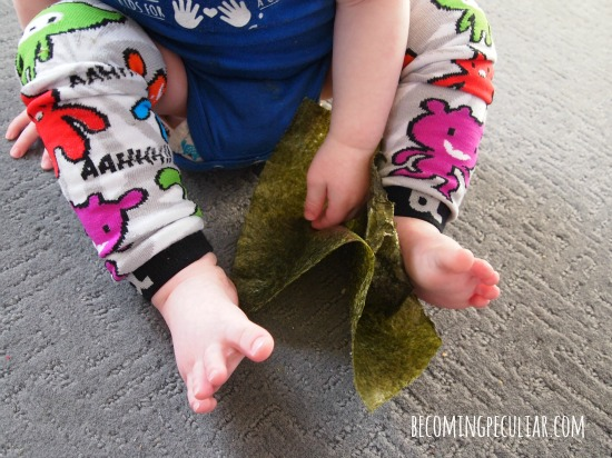 nori sheets: a safe alternative to paper for toddlers (for sensory play)