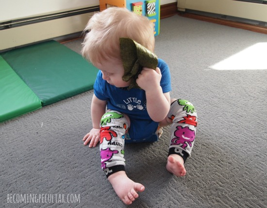 nori: sensory play for babies. listening to the crinkling!