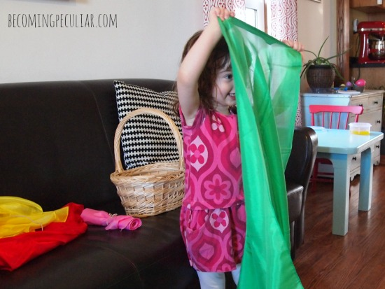 play scarves for easter - toddler