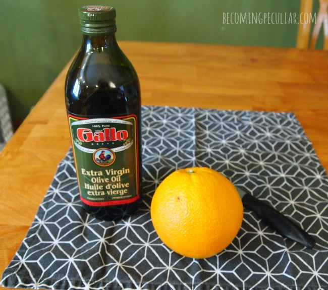 how to make a candle out of an orange and olive oil