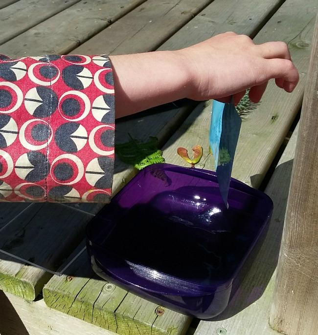 making sun print - rinsing