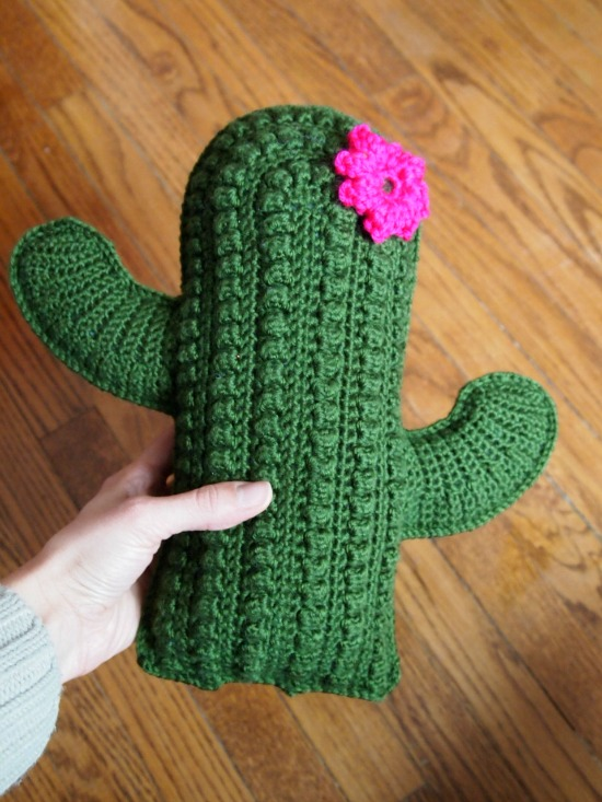 textured cactus pillow